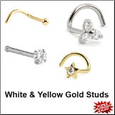 White and Yellow Gold Nose Studs