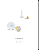 18KT Yellow Gold Bioflex Labret Style Push Pin Nose Stud Bezel Set CZ 18G 16G