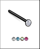 925 Sterling Silver, Black Plated Nose Stud Ring 1.25mm CZ - Choose Your Style 22G
