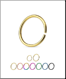 Titanium Anodized 316L Surgical Steel Seamless Annealed Continuous Nose Ring Hoop Choose Your Color & Size 16G