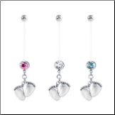 **BLOW OUT SALE** Maternity Pregnancy Navel Ring Feet with CZ 14G