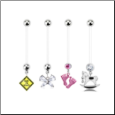 **BLOW OUT SALE** 4 Pack Maternity Pregnancy Navel Ring Butterfly, Pink Feet, Rocking Horse, Baby On Board 14G