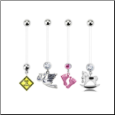 **BLOW OUT SALE** 4 Pack Maternity Pregnancy Navel Ring Stork, Pink Feet, Rocking Horse, Baby On Board 14G