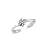 925 Sterling Silver Solitaire CZ Toe Ring