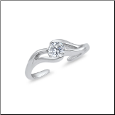 925 Sterling Silver Solitaire Wave CZ Toe Ring