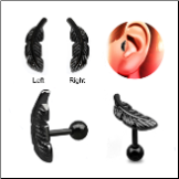 Anodized Black 316L Surgical Steel Ear Cartilage Earring Helix Tragus Piercing Right or Left Feather
