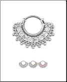 316L Surgical Steel/Brass Hinged Septum Clicker Indian CZ 16G