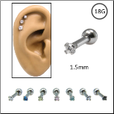 Ear Cartilage Jewelry 316L Surgical Steel Small 1.5mm CZ 18G