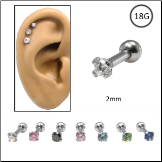 Ear Cartilage Jewelry 316L Surgical Steel 2mm CZ 18G