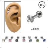 Ear Cartilage Jewelry 316L Surgical Steel 2.5mm CZ 18G