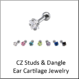 CZ Studs and Dangle Cartilage Pieces