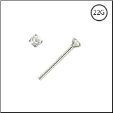 925 Sterling Silver Straight Or L Bend Nose Stud Tiny Micro 1mm Clear Gem 22G