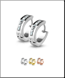 316L Surgical Steel 7 Stone Huggie Hoop Earrings 20G