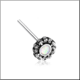 316L Surgical Steel White Opal CZ Ornate Filigree Nose Stud Choose Your Style 20G
