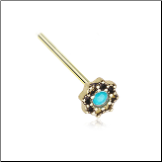 Gold Plated 316L Surgical Steel Lotus Filigree Teal Opal CZ Nose Stud Choose Your Style 20G