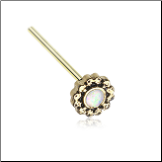 Gold Plated 316L Surgical Steel White Opal CZ Ornate Filigree Nose Stud Choose Your Style 20G