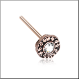 Rose Gold 316L Surgical Steel Luna Ornate Filigree Clear CZ Nose Stud Choose Your Style 20G