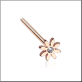 Rose Gold Plated 316L Surgical Steel Daisy Flower Nose Stud Choose Your Style 20G