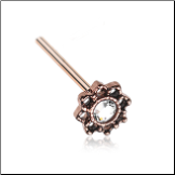 Rose Gold Plated 316L Surgical Steel Lotus Filigree Clear CZ Nose Stud 20G