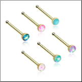 Gold Plated 316L Surgical Steel Nose Bone 2mm Opal Gem - Choose Your Style & Color 20G