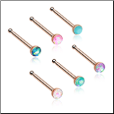 Rose Gold Plated 316L Surgical Steel Nose Bone 2mm Opal Gem - Choose Your Style & Color 20G