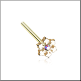 Gold Plated 316L Surgical Steel Aurora CZ Snowflake Nose Stud Choose Your Style 20G