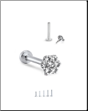 "316L Surgical Steel Labret Style Nose Monroe Stud Ring 5/16"" Screw Post Flower"