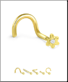 14K Solid Yellow Gold Nose Bone 3mm Flower- Choose Your Style