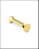 10KT Yellow Gold Nose Bone 2mm Heart