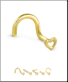14KT Yellow Gold Nose Stud Hollow Heart - Choose Your Gauge & Style