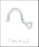 14KT White Gold Nose Stud Hollow Heart - Choose Your Gauge & Style