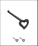 925 Sterling Silver Black Plated Nose Stud 4mm Heart 22G