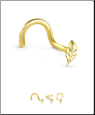 14KT Yellow Gold Nose Screw Leaf 20G