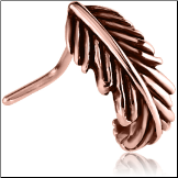 **BLOW OUT SALE** Rose Gold PVD Coated 316L Surgical Steel L Bend Nose Hugger Feather 20G