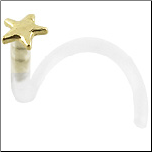 BioFlex 14KT Gold Nose Screw Star 18G