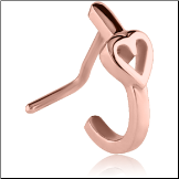 **BLOW OUT SALE** Rose Gold PVD Coated 316L Surgical Steel L Bend Nose Hugger Heart 20G
