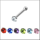 316L Surgical Steel Nose Bone 1.5mm Round CZ -Choose Your Color 20G