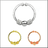 925 Sterling Silver Fake Septum Clicker Hanger Clip On Nose Ring Hoop Balinese Wire & Ball - Choose Your Color