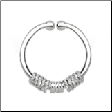 925 Sterling Silver Fake Septum Clicker Hanger Clip On Nose Ring Hoop Ropes