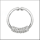 925 Sterling Silver Fake Septum Clicker Hanger Clip On Nose Ring Hoop Rope