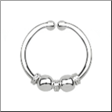 925 Sterling Silver Fake Septum Clicker Hanger Clip On Nose Ring Hoop 2 Balls & 3 Wires