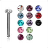 316L Surgical Steel Nose Bone Stud Micro Tiny Small 1mm Gem 20G