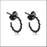 Black PVD Coated 316L Surgical Steel Wire Wrapped Hoop Earrings