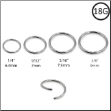 Nose Ring Seamless Hoop Annealed Surgical Steel Choose Size 18G