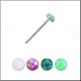 925 Sterling Silver Straight Nose Stud 2mm Opal Gem 22G