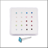 20 Pack 925 Sterling Silver Straight Nose Studs Rings 2mm Square Stones