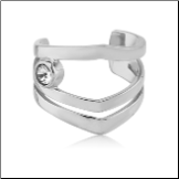 316L Surgical Steel Fake Ear Cuff Clip On Non Piercing Hoop Single Solitaire Stone