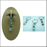 **BLOW OUT SALE** Fake Spring Loaded Navel Ring Clip On CZ Drop