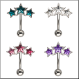 **BLOW OUT SALE** 316L Surgical Steel Navel Belly Button Ring Star CZ 14G