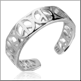 925 Sterling Silver Toe Ring Peace